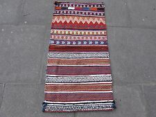 Old Hand Made Persian Oriental wool Red Orange Colourful kilim Runner 112x57cm