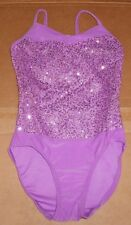 NWOT Dance COSTUME leotard intermediate child  Sequin front Orchid Wolff Fording