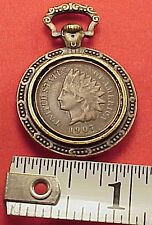 Miniature Indian Head Penny Pocket Watch Fob Chain Charm Pendant Drop