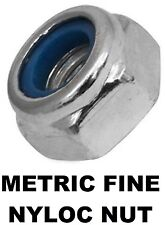 Metric Fine Hex Nyloc Nut M12 (12mm) 1.25mm Pitch Zinc Plated Insert ZP 300PCS