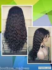 "26"" Glueless 100% Human Hair Curly Wavy Lace Front Wig 1B SALE!!"