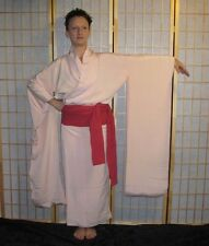 """Powder Pink"" Vintage Japanese Woman's Silk Under Kimono Bridal Furisode"