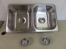 New Rv Trailer Boat Marine 27 x 16 Stainless Steel Kitchen Sink with Strainers