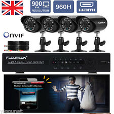 CCTV 4CH Onvif  960H HDMI DVR 4 Outdoor 900TVL Cameras Home Security System Kit