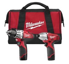 "Milwaukee 2494-22 M12 Cordless 2-Tool Combo Kit 3/8"" Drill Driver 1/4 Hex Impact"