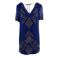 French Connection 1239 Womens Blue Sequined Double-V Raw Hem Casual Dress 4 BHFO