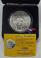 {BJSTAMPS}1985 Engelhard LIBERTY Trade SILVER ART Round  10,000 Minted w/Box COA