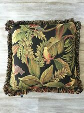 """Tucan Parrot Jungle Tapestry Pillow 17"""" x 17""""  Loop Fringe Dakotah Brand"""