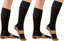 2 Pair Lg/XL Black Compression Copper Socks Support 20-30 mmHg Graduated Sock