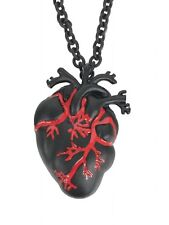 Black Anatomical Heart Necklace Pendant Grunge Medical Gothic Red Bloody Punk