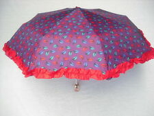 BETSEY JOHNSON DESIGNER LEAF PRINT PURPLE RUFFLE UMBRELLA SOLD OUT WOW CUTE! NWT