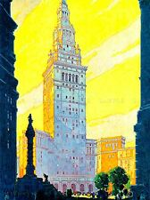Peinture architectural Terminal Tower Cleveland Ohio USA POSTER ART PRINT lv2320