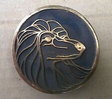 NOS 1970's UB Hand Made Afghan Hound Dog Head Solid Bronze Cast Belt Buckle