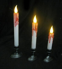 3 Lighted Bloody Candle Sticks Candles LED Haunted House Halloween Party Decor