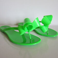 F-84148 New Valentino Neon Green Jelly Sandals with Bow Marked 35 US 5