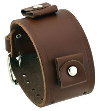 Nemesis LHST-B Wide Brown Smooth Leather Cuff Watch Band