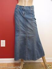 JEANOLOGY COLLECTION BLUE JEAN FADED LONG MAXI MERMAID PLEATED DENIM SKIRT SZ 2