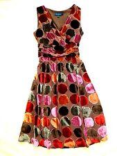 BODEN Red POLKA DOT Sleeveless SILK VELVET Velour PARTY TEA DRESS US 6  /UK10R