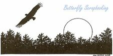 Silhouette Eagle Moon & Pines, Wood Mounted Rubber Stamp NORTHWOODS - NEW, O9735