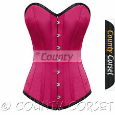 Steel Boned Long Torso Overbust Bustier Back Lacing Hot Pink Satin Corset Korset