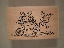 Stampin' Up! Rabbit in Wheelbarrow Wood Mounted Rubber Stamp, Bunnies, Spring