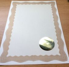 30 A4 Paper Plain Blank Certificates With Gold Border & 30 Plain Gold Foil Seals