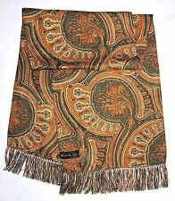 Gentleman's CRAVATS of London Green Gold PAISLEY Double Silk Fringed Long Scarf