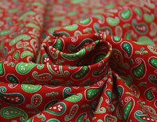 Children's Christmas Inspired Paisley Print Cotton Craft Fabric Material