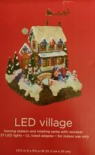 CHRISTMAS VILLAGE Moving Skaters & Rotating Santa w Reindeer 37 LED LIGHTS NEW