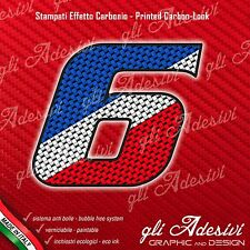 Adesivo Stickers NUMERO 6 moto auto cross gara Carbon Effect Blu White Red 10 cm
