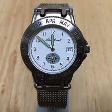 Vintage Eddie Bauer Men Titanium Tone Analog Quartz Watch Hours~Date~New Battery