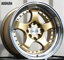 Aodhan Ah03 15X8 4X100/114.3 Et20 Gold Rims Fits Rx7 Mustang Accord Ae86 Stance