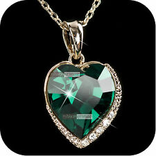 18k gold gp made with SWAROVSKI crystal green heart pendant wedding necklace