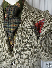 Green White Herringbone Pure Wool Tweed WORKING CUFFS Jacket Blazer BODEN UK 40