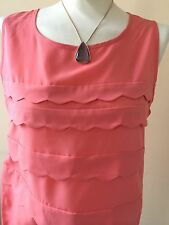 LOVELY PEACH SCOLLOPED FRONT SLEEVELESS TOP SIZE 12 BY NEXT