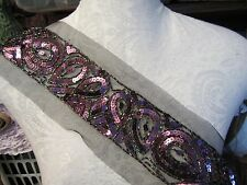 "16"" SEQUIN - BEAD Band Applique - PURPLE   **SO PRETTY**"