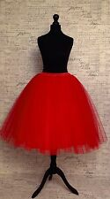 "Red Skirt Tulle 24"" Long Just Below Knee Party Vintage Wedding Party Mesh 50s"