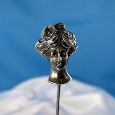 Antique Exceptional! Sterling Victorian Ladies Head Hatpin Hat Pin