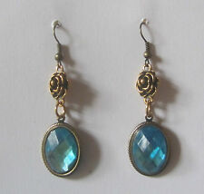 VICTORIAN STYLE TURQUOISE ACRYLIC CRYSTAL DARK GOLD PLATED ROSE EARRINGS RS