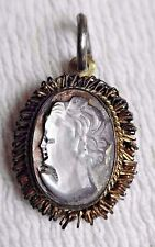 ANTIQUE ABALONE SHELL CARVED CAMEO PENDANT - SILVER W/ GOLD WASH - 800 SERIES