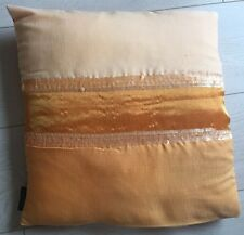 "NEW BRIGHT ORANGE SEQUINNED STRIPED CUSHION 16"" x16"""