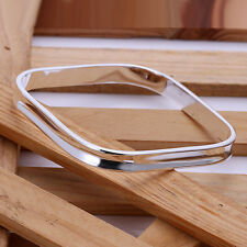 STERLING SILVER PLATED SQUARE STACKABLE BANGLE BRACELET FASHION JEWELRY