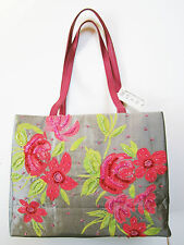 MOYNA silk taffeta hand-screened & hand-beaded handbag tote made in India NWT