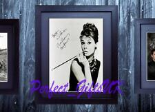 AUDREY HEPBURN FRAMED & MOUNTED SIGNED 10x8 REPRO PHOTO PRINT N2