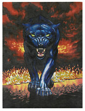 """Fire Panther - Dufex Foil Picture Print - size 6"""" x 8"""""""