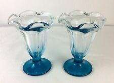 Set of 2 Vintage LIBBEY Turquoise Ice Cream Sundae Dessert Dishes Glasses