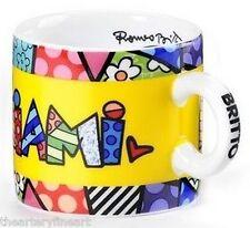 ROMERO BRITTO 'MIAMI' Mini Ceramic Cup / Mug Collector Miniature 2 oz. **NEW**