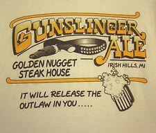 GUNSLINGER ALE outlaw beer 2XL tee Golden Nugget Steak House T shirt Irish Hills