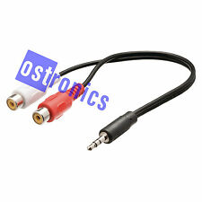 3.5mm MALE JACK PLUG to 2x RCA FEMALE 0.2m Cable Lead - UK