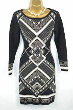OASIS Black Geometric knitted metallic Jumper Dress UK Small